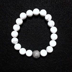 Pavé CZ White Howlite Stretch Beaded Bracelet 10mm